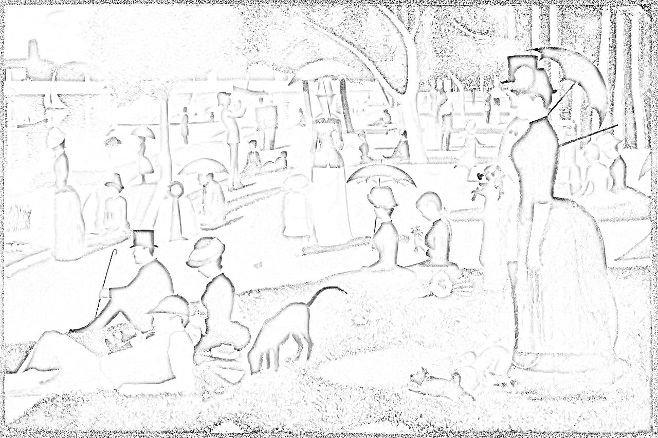 【ダウンロード】ジョルジュ・スーラ『グランド・ジャット島の日曜日の午後』塗り絵