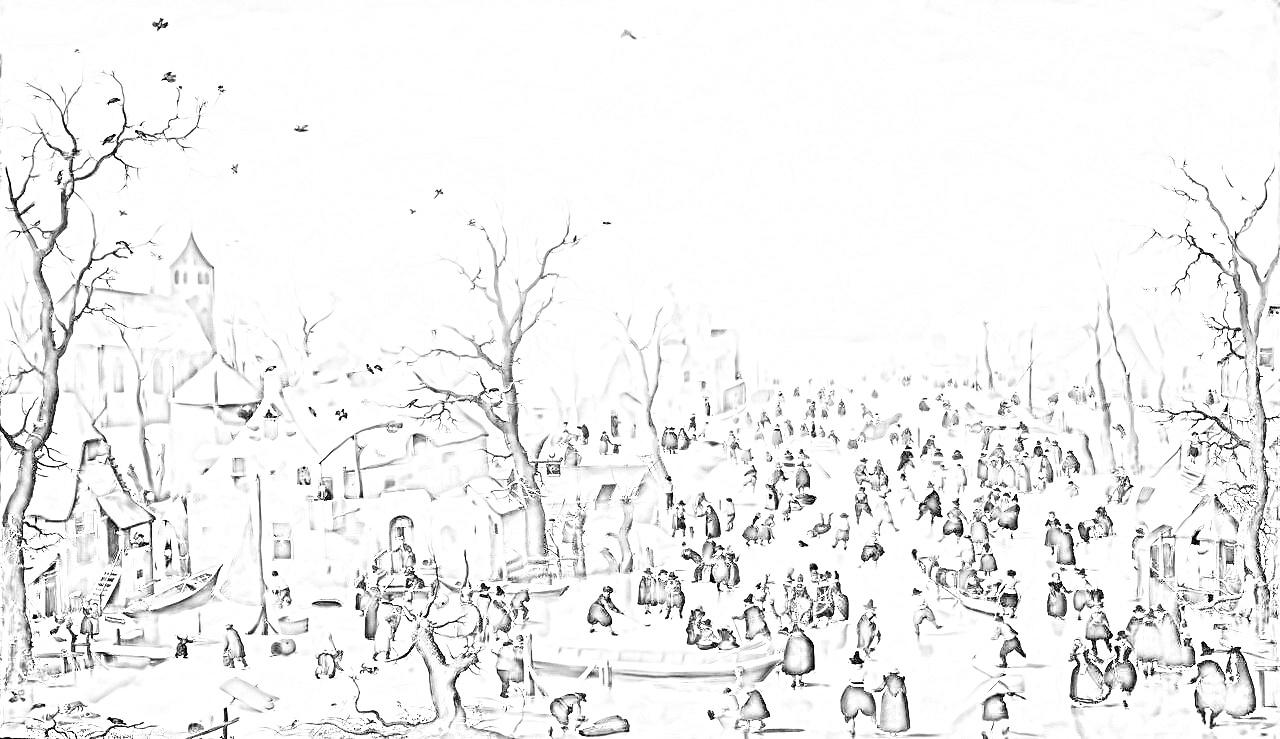 ヘンドリック・アーフェルカンプ 『スケートをする人々のいる冬景色』塗り絵