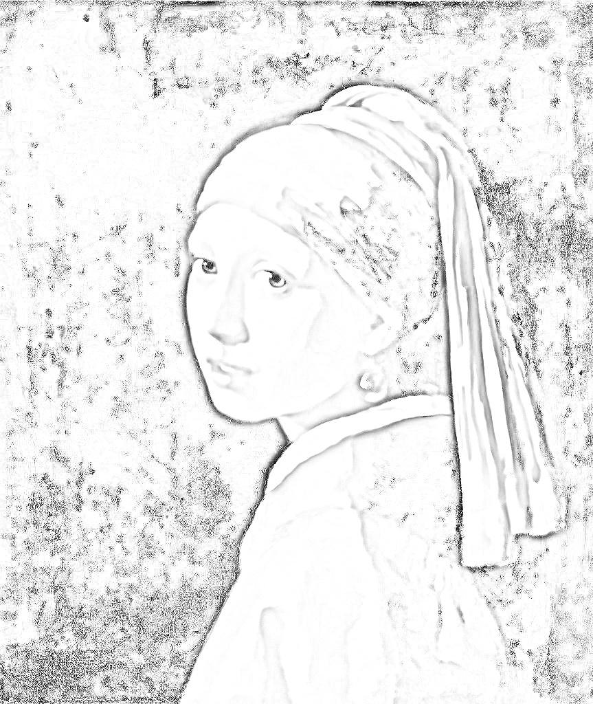 ヨハネスフェルメール 『真珠の耳飾りの少女』塗り絵