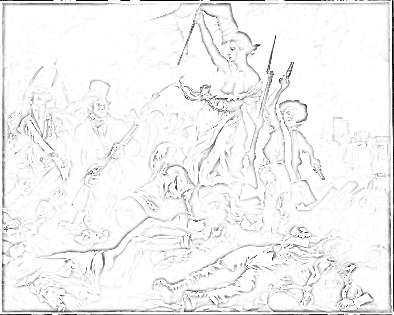 ウジェーヌ・ドラクロワ『民衆を導く自由の女神』塗り絵