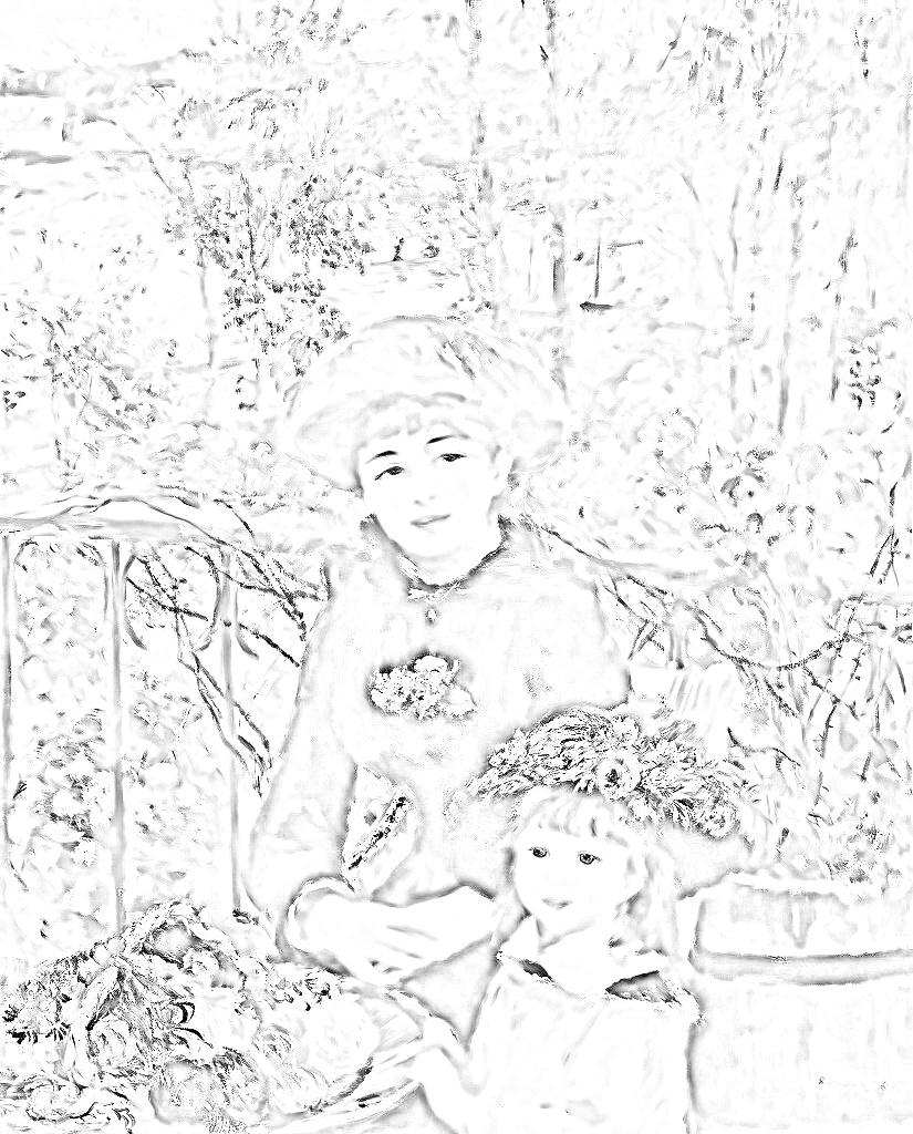 ピエール=オーギュスト・ルノワール『二人の姉妹(テラスで)』塗り絵